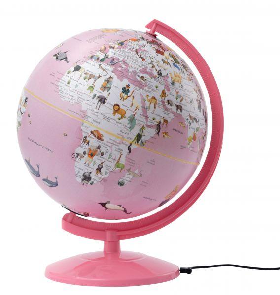 SE-01012 Kinderglobus Leuchtglobus Kinder rosa pink Globus Mädchen Tierglobus kaufen Tierwelt