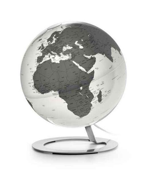 iglobe Charcoal moderner Globus chrom Leuchtglobus 25cm grau