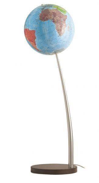 Handkaschierter Standleuchtglobus CTN 37 04 Leuchtglobus Design Globe Chrome 37cm World Globus