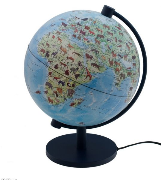 Stellanova Kinderglobus Welt der Tiere 28cm Leuchtglobus Globus für Kinder Tierwelt Tierglobus Globe
