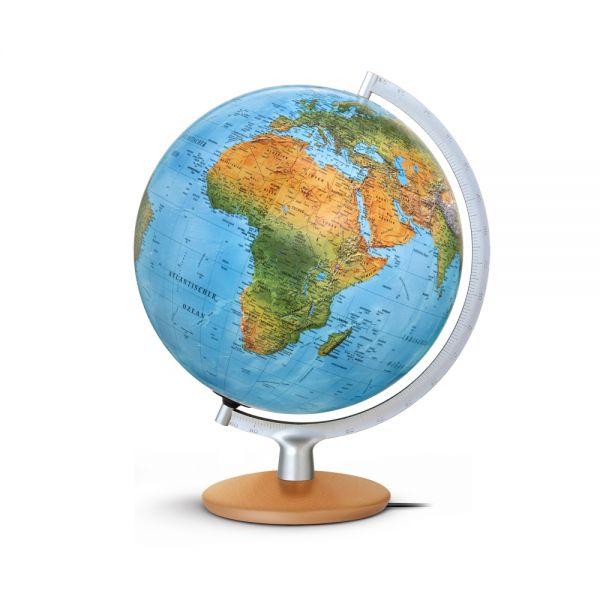 Handkaschierter Doppelbild-Leuchtglobus DFNI 3017 Globus 30cm Tischglobus Globe Erth World Büro