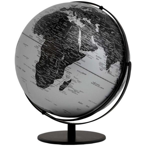 Emform Kosmos politisch Matt Silver Design Globus 42cm 2 Achsen silber englisch Relief SE-0898