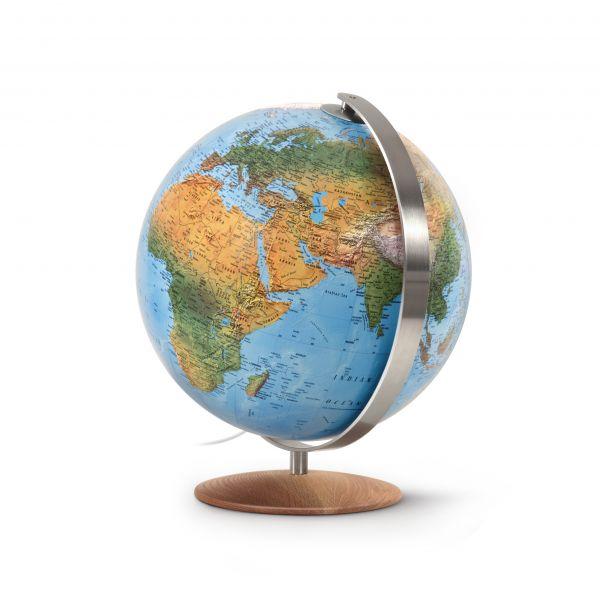 Räth Globus Leuchtglobus handkaschiert 37cm Durchmesser Doppelbild-Kartografie physisch/politisch DF