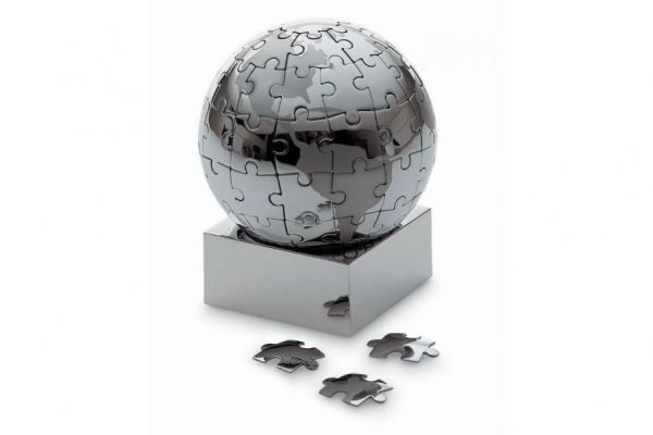 Philippi EXTRAVAGANZA XL Puzzle Globus 8cm Edelstahl verchromt magnetisch Tischglobus Design Globe