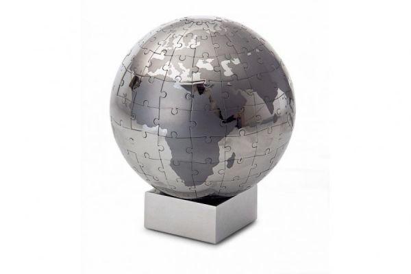 Philippi EXTRAVAGANZA XL Puzzle Globus 12cm Edelstahl verchromt magnetisch Tischglobus Design Globe