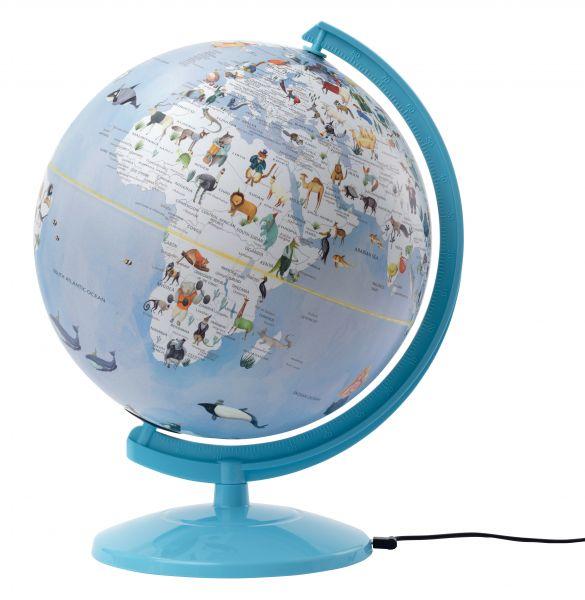 Blau Kinderglobus Emform Globus Leuchtglobus Ø 25cm WILDLIFE WORLD BLUE Welt der Tiere Tierglobus Co