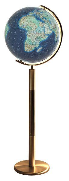 Standglobus handkaschiert Columbus Azzurro 244079 - Ø 40 cm Leuchtglobus Design Messing Globus Büro
