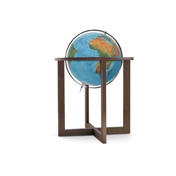 Handkaschierter Stand-Leuchtglobus Globus Erth Erde Welt Weltkugel 50cm Durchmesser, Gestell wenge
