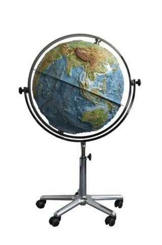 Relief-Globus Großglobus physisch Reliefglobus 64cm Durchmesser Standglobus mit Rollen Lehrmitte